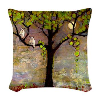 Owl Couple in a Tree Woven Throw Pillow  34.50