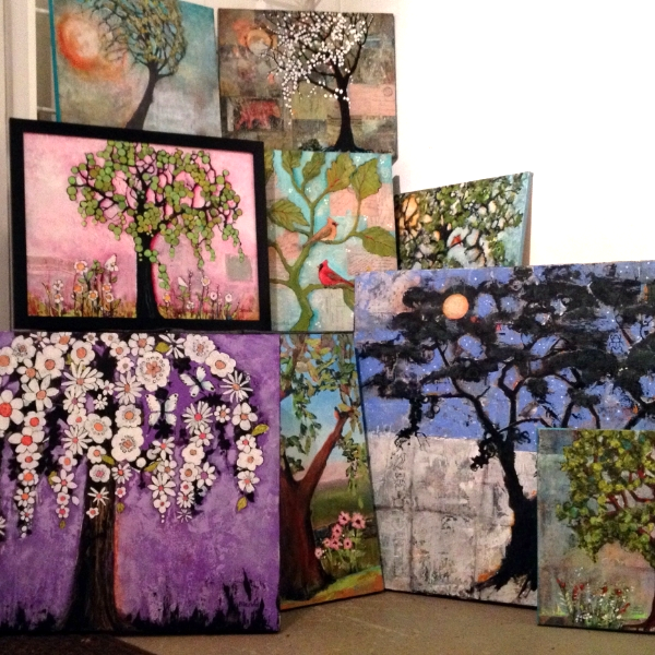 A forest of new tree paintings in my studio ready for a show