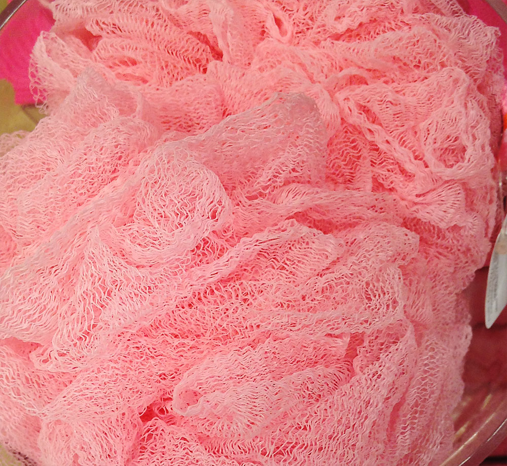 Pink bath scrubbies