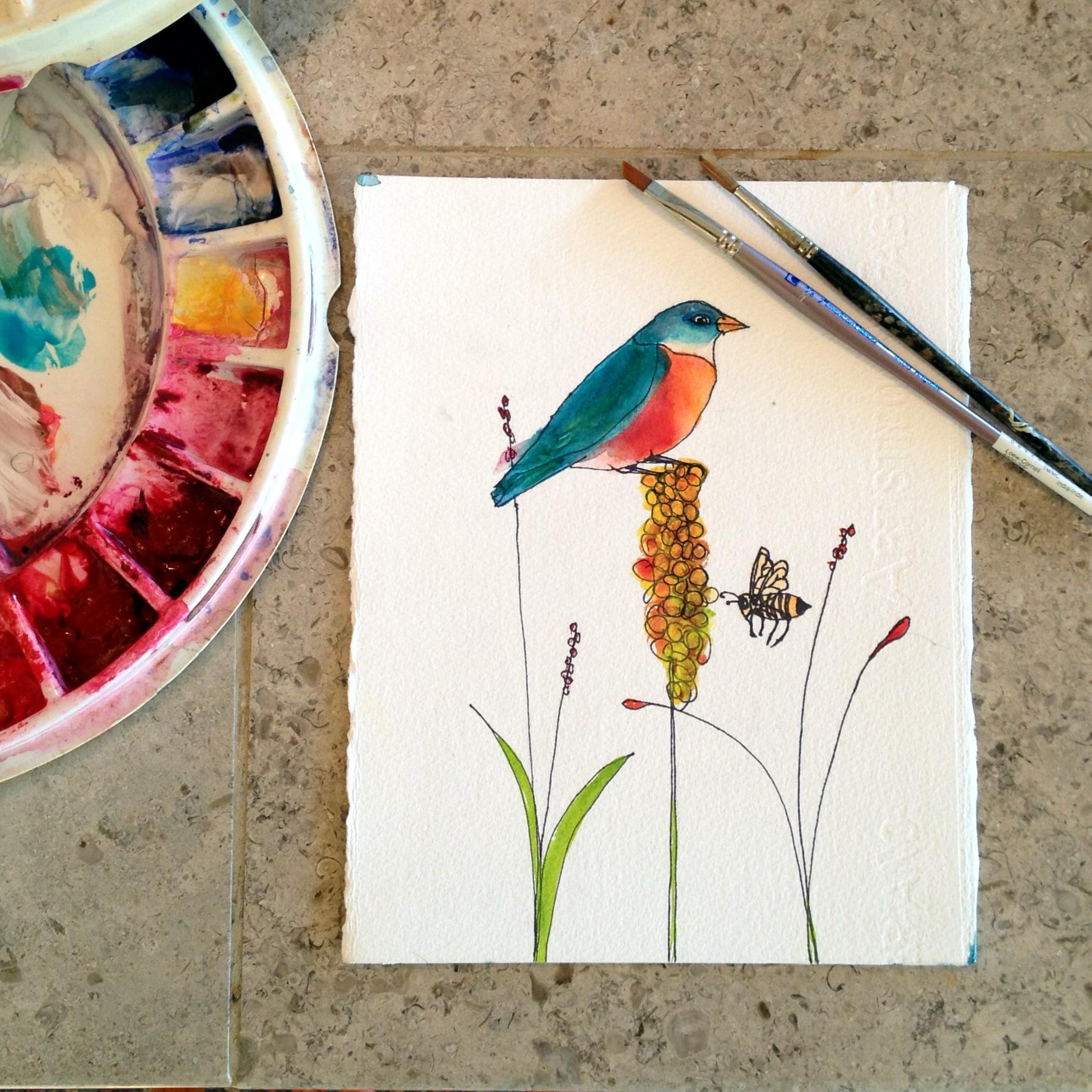 Blue bird on a grain stalk with a bee by Blenda