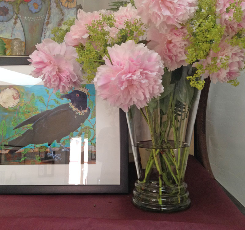 Pink peonies and a crow print