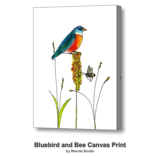 Bluebird and Honey Bee by Blenda Tyvoll