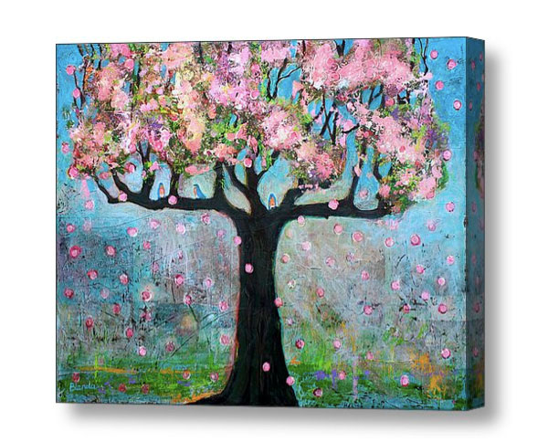 Blossoms Tree and Bluebirds