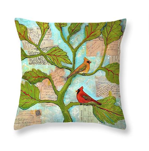 Cardinal Love Notes Throw Pillow  by Blenda Tyvoll