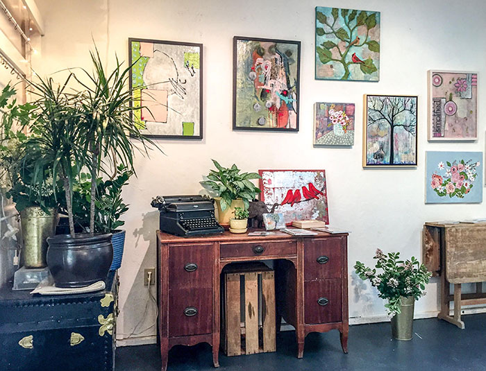 We used lots of house plants to give the studio a festive look.