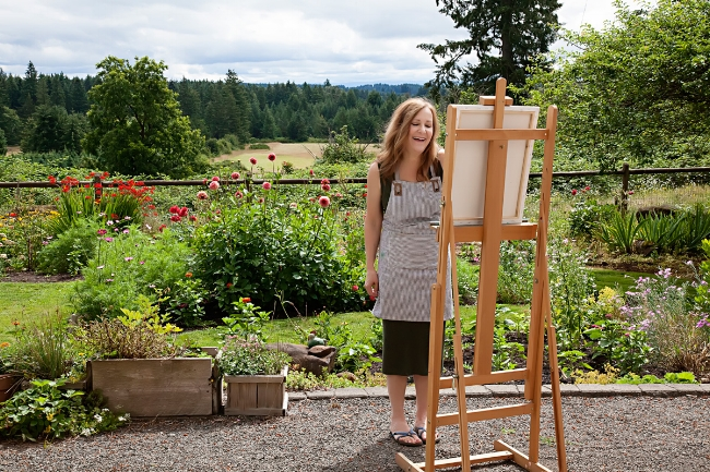 Me painting in the garden behind the studio.