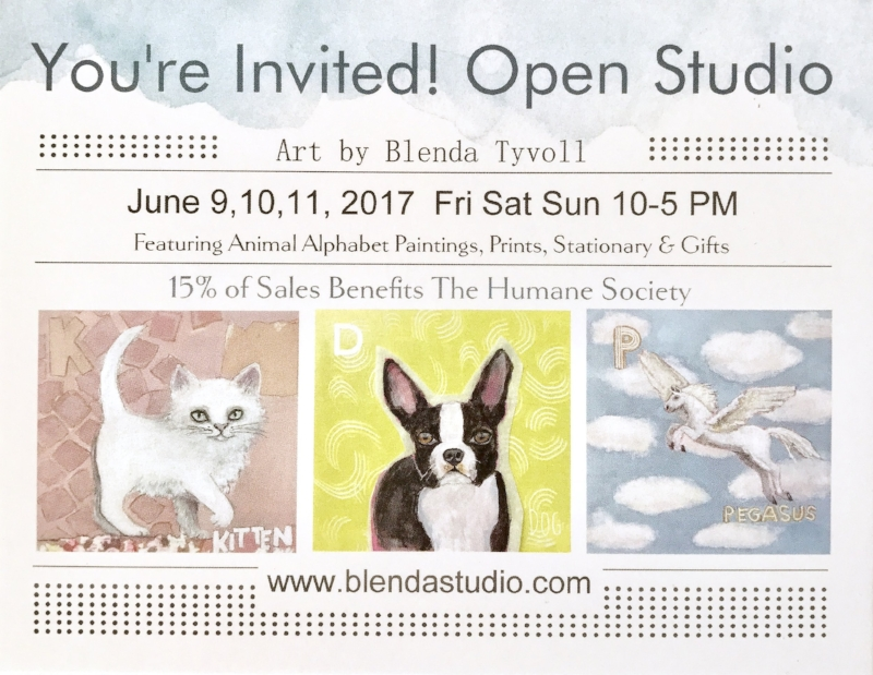 Postcard invite for Blenda's open studio June 9-11, 2017. Proceeds during this event benefit the Oregon Humane Society