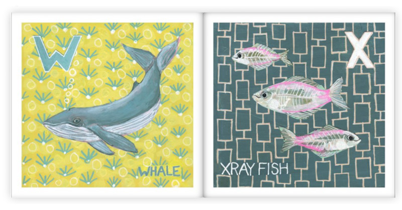 w is for whale and X is for xray fish by Blenda Tyvoll