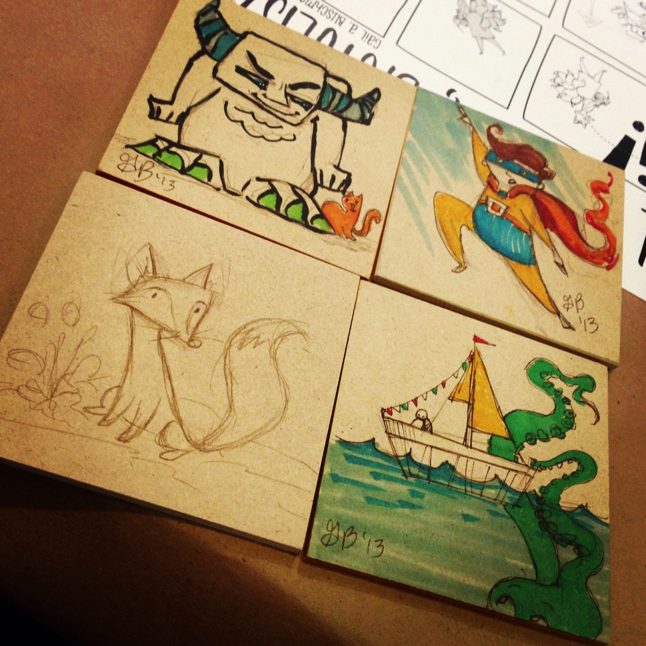 The start of the sketches I worked on throughout the day. Once I started drawing the fox, I got people really excited about my sketches and I drew many more animals. These are all drawn on MDF squares that were very fun to work on.