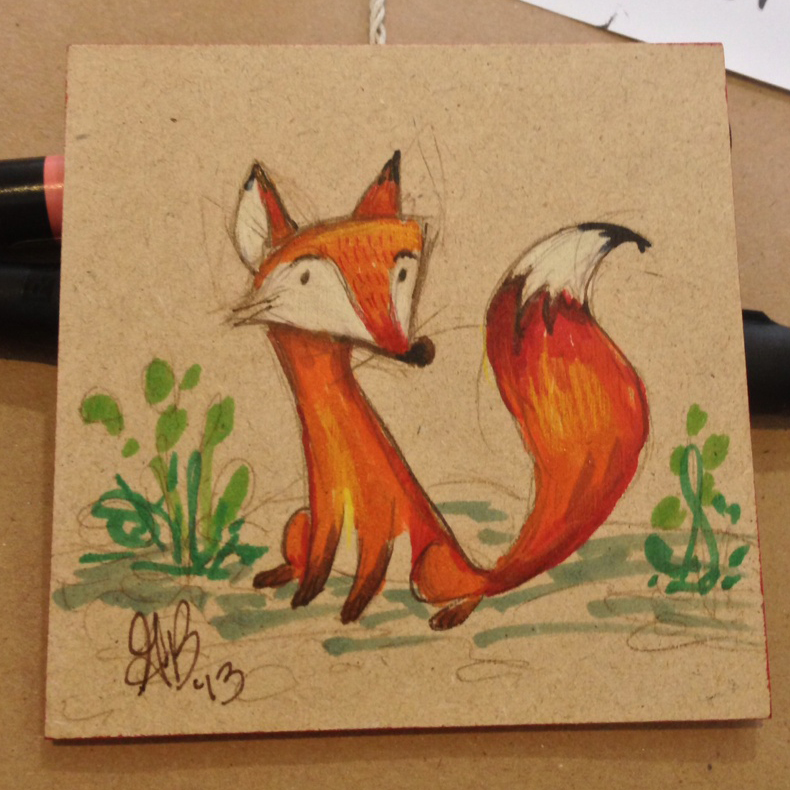 Finished fox sketch that went to a new home.