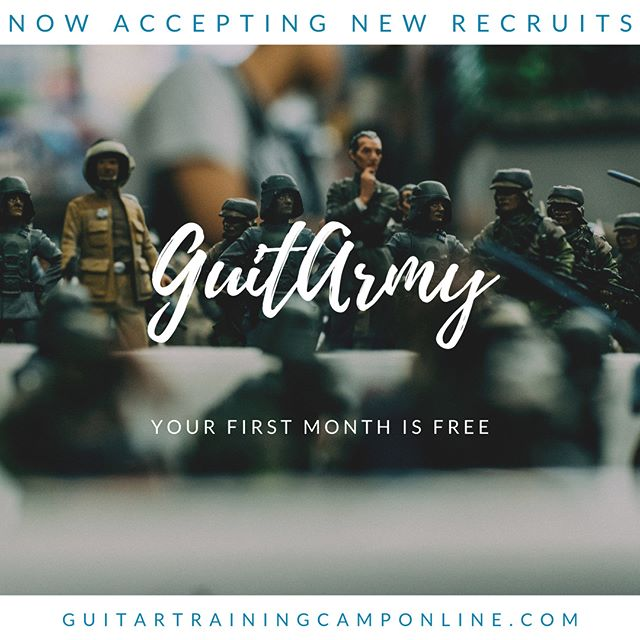 GuitArmy is my online platform for learning guitar. We are offering your first month free when you sign up. You get a ton of cool features. Use coupon code: 1STMONTHFREE to make sure you get your first month free. For more info about GuitArmy the link is in my profile.