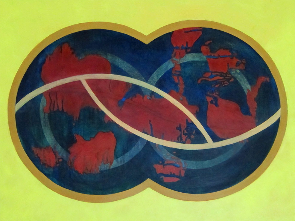 """Snapshot of """"Yellow Map World"""", the only oil painting in the bunch of Maps & Mandalas."""