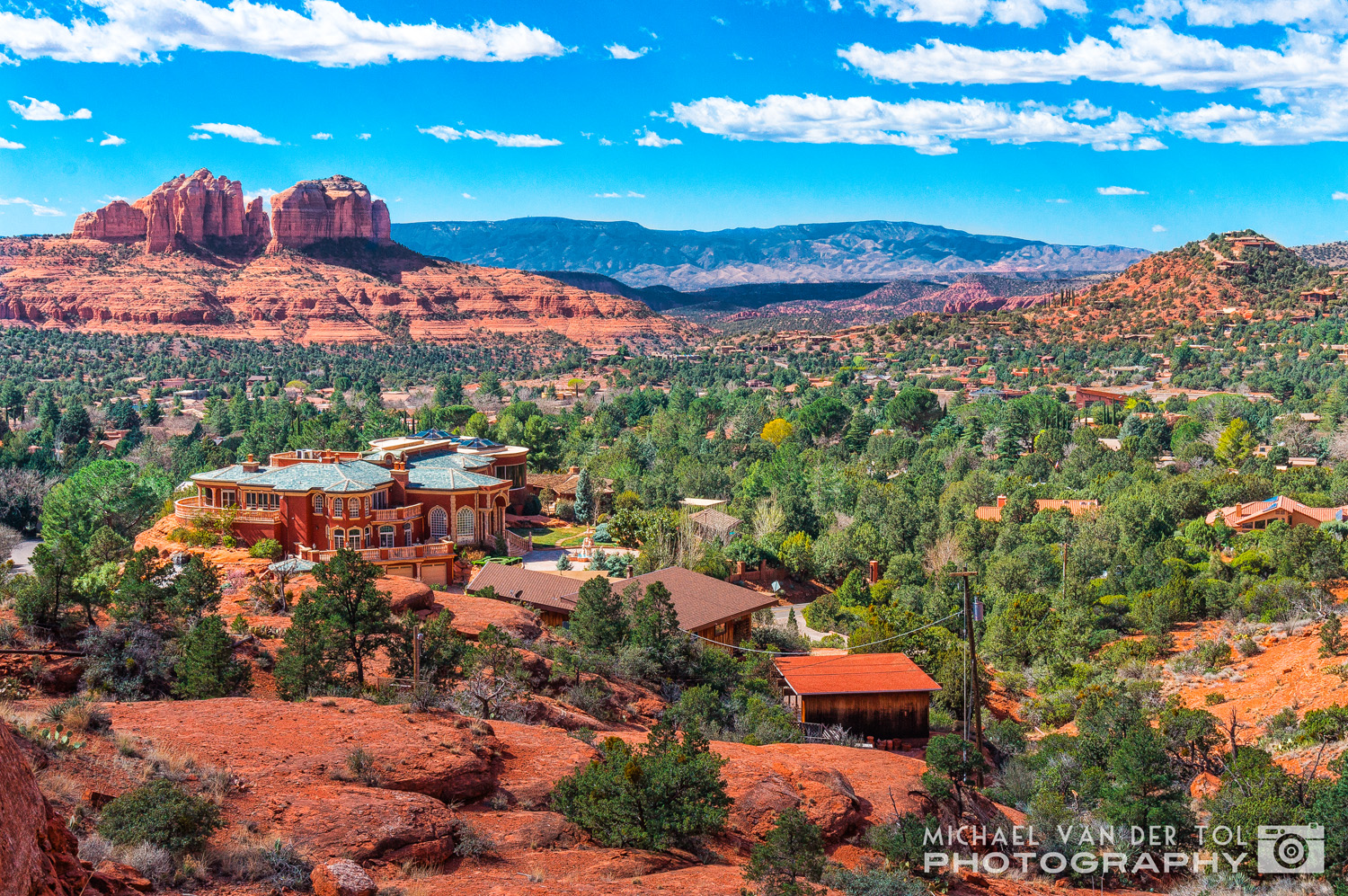 The view looking west from the Chapel of the Holy Cross (Cathedral Rock in the background), Sedona, Arizona, 2016
