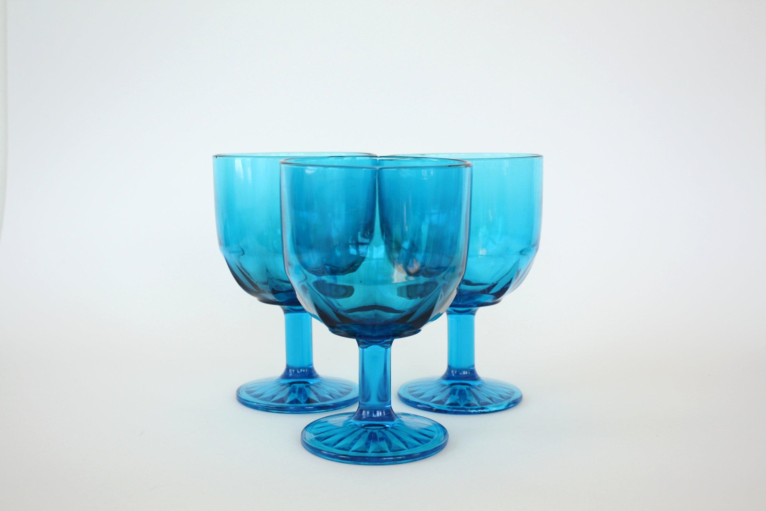 "183. blue glass goblet | 6"" | 3"