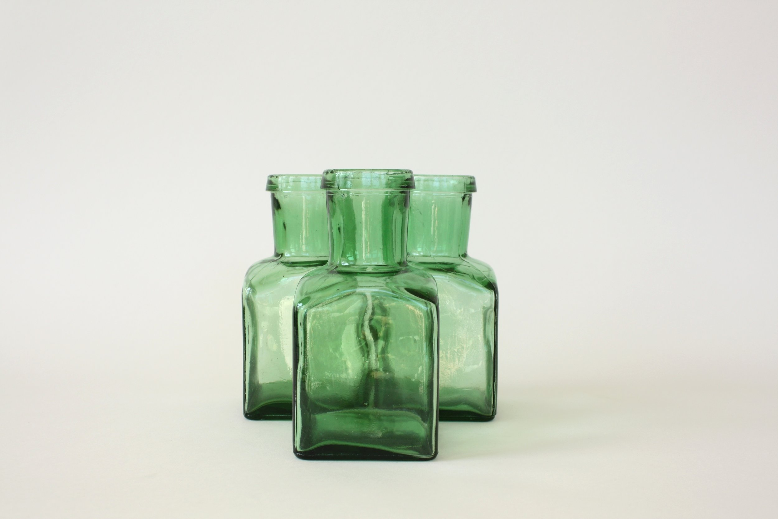 "185. green glass | 6"" | 6"