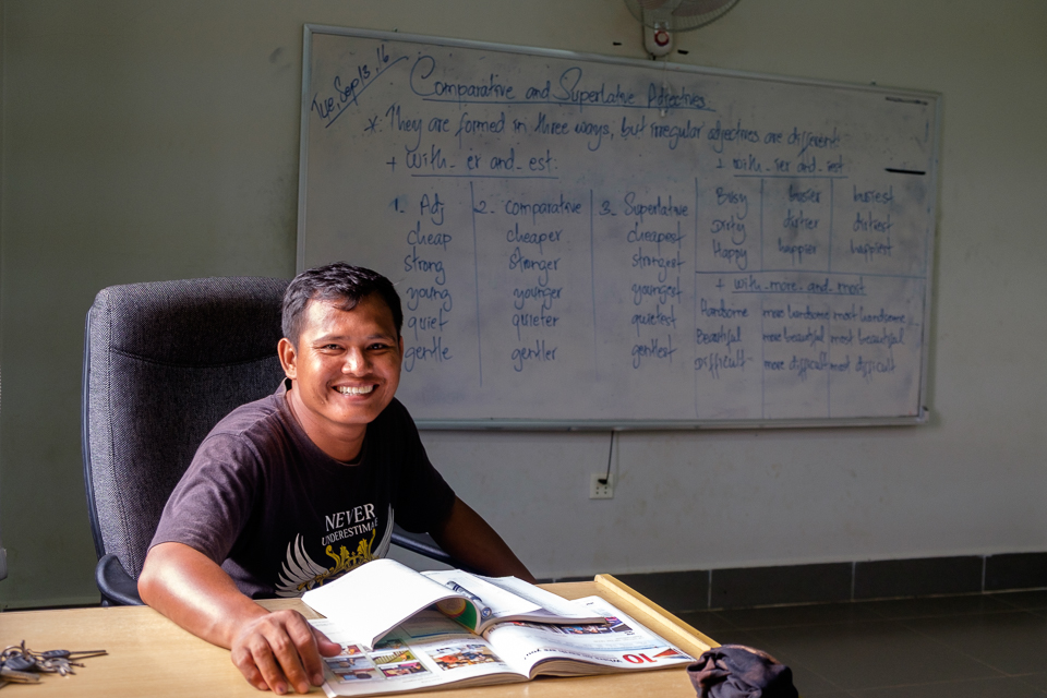 Teacher Pheaktra teaches our highest level English classes.