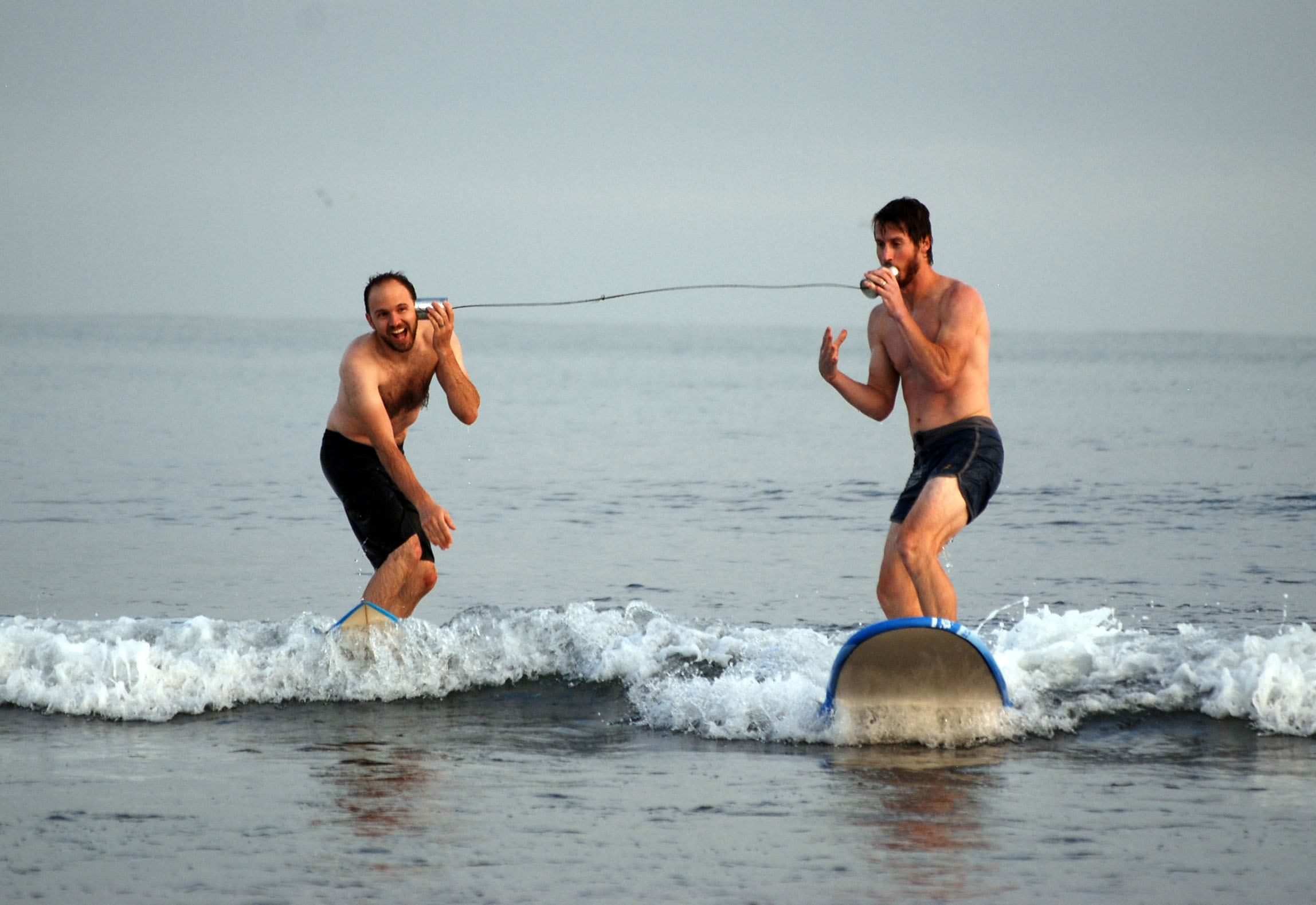 Josh and I surfed while we conversed on a tin can telephone.
