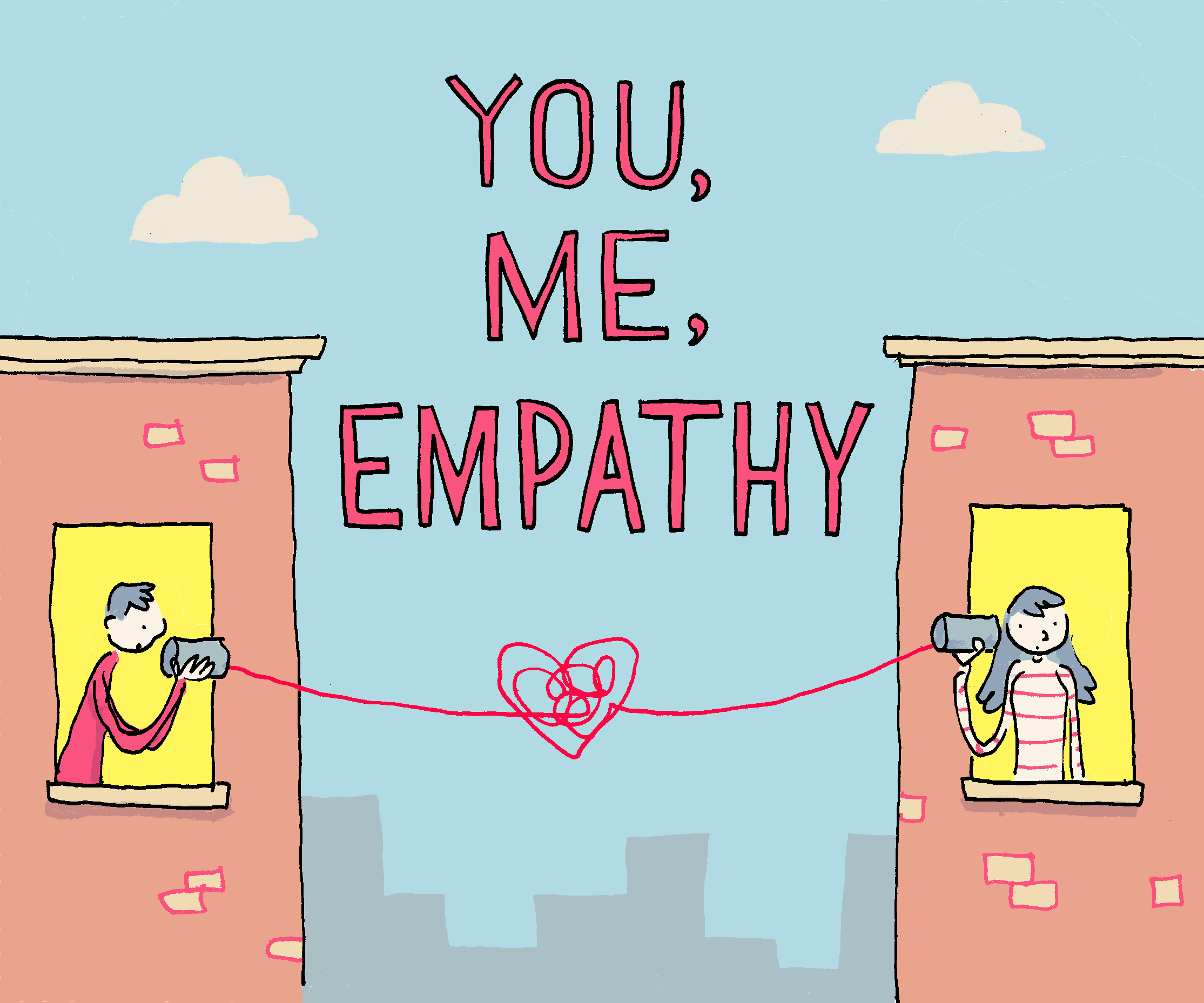 You, Me, Empathy logo designed by Grant Snider of IncidentalComics.com