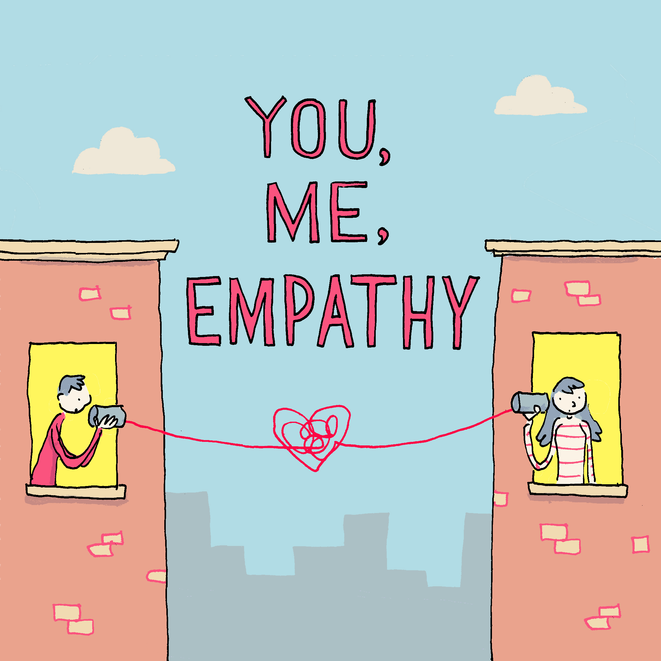 The You, Me, Empathy logo, designed by Grant Snider of IncidentalComics.com.