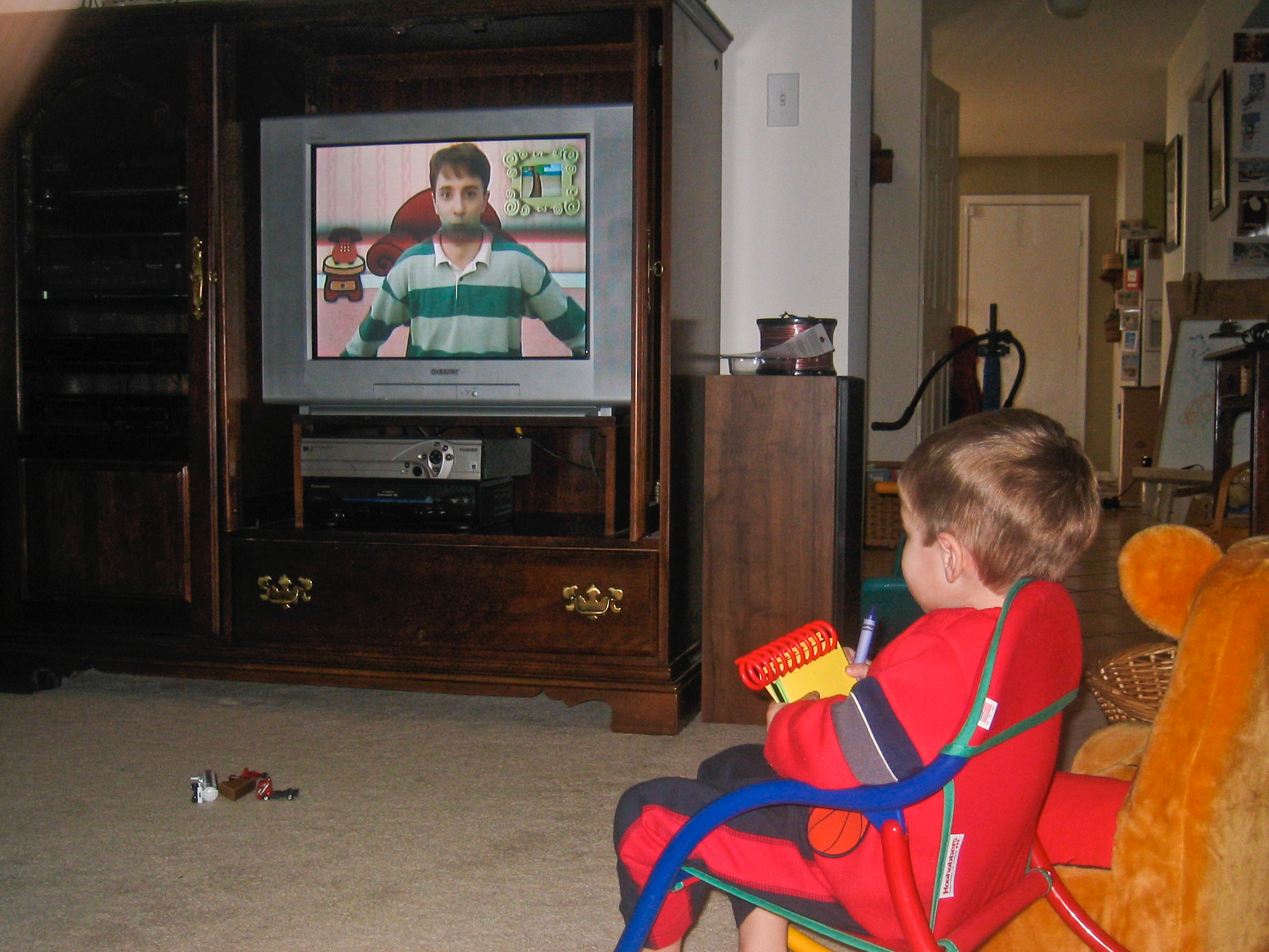 Kyle (3 years old) watching his favorite show - Blues Clues