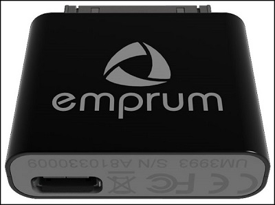 A close-up of the UltiMate GPS device, clearly showing the company logo.