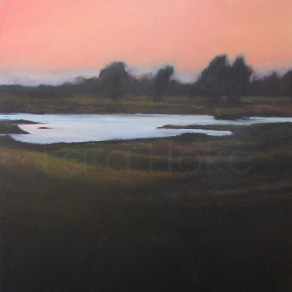 Grizzly Island Sunset  3 x 3'  Oil on panel  Privately owned