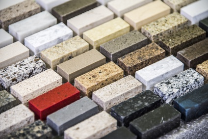 Stone countertops come in a variety of colors and styles.