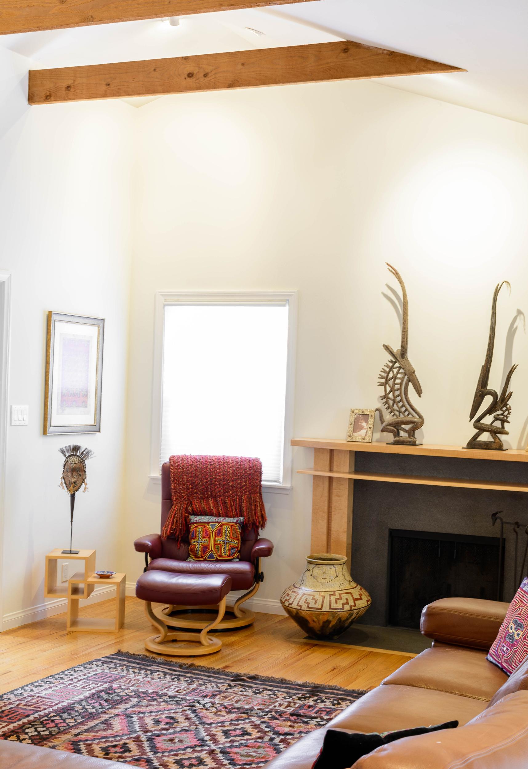 Bright living room reading nook