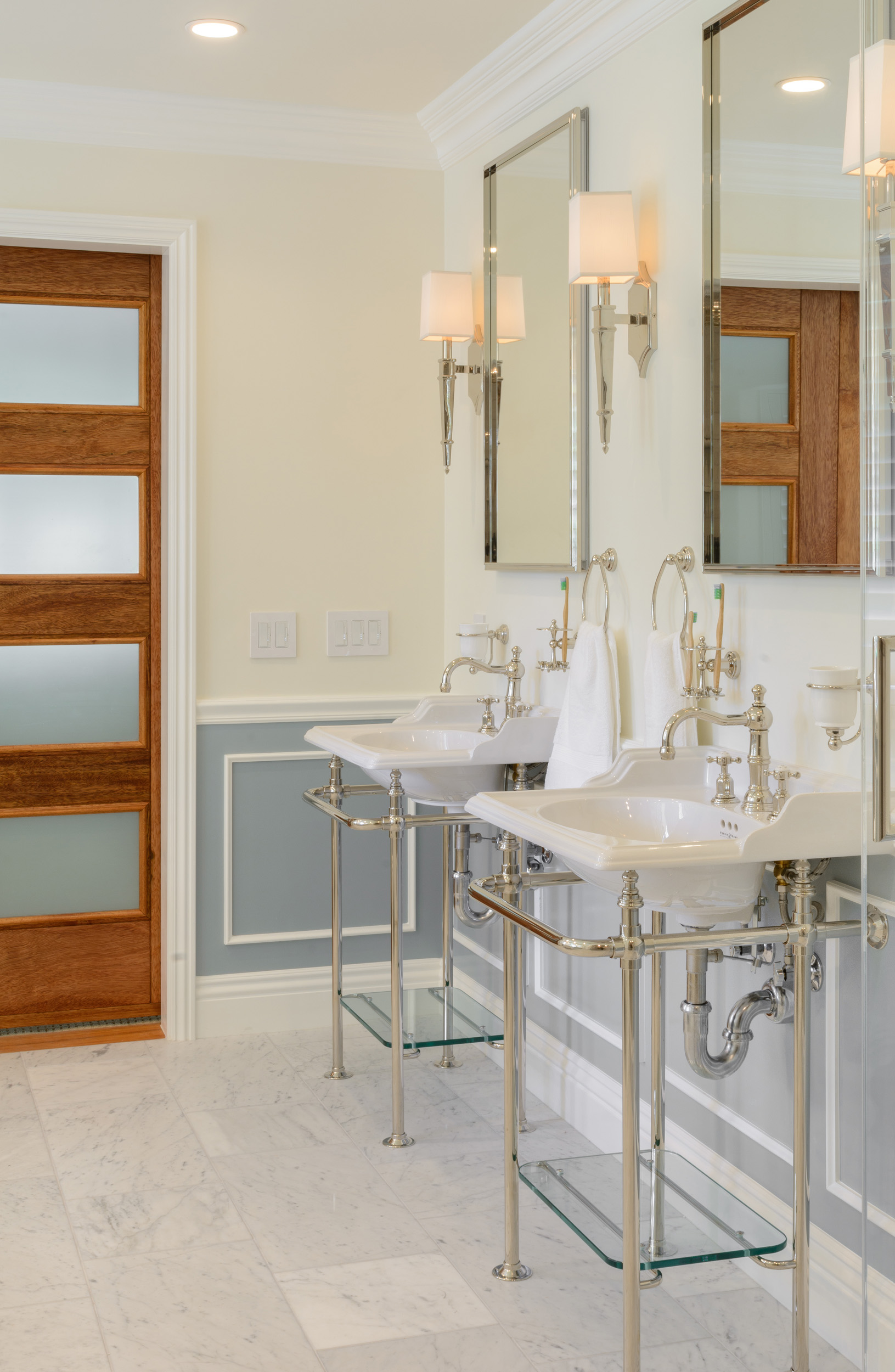 Bathroom door with privacy glass: mahogany and frosted glass barn doors