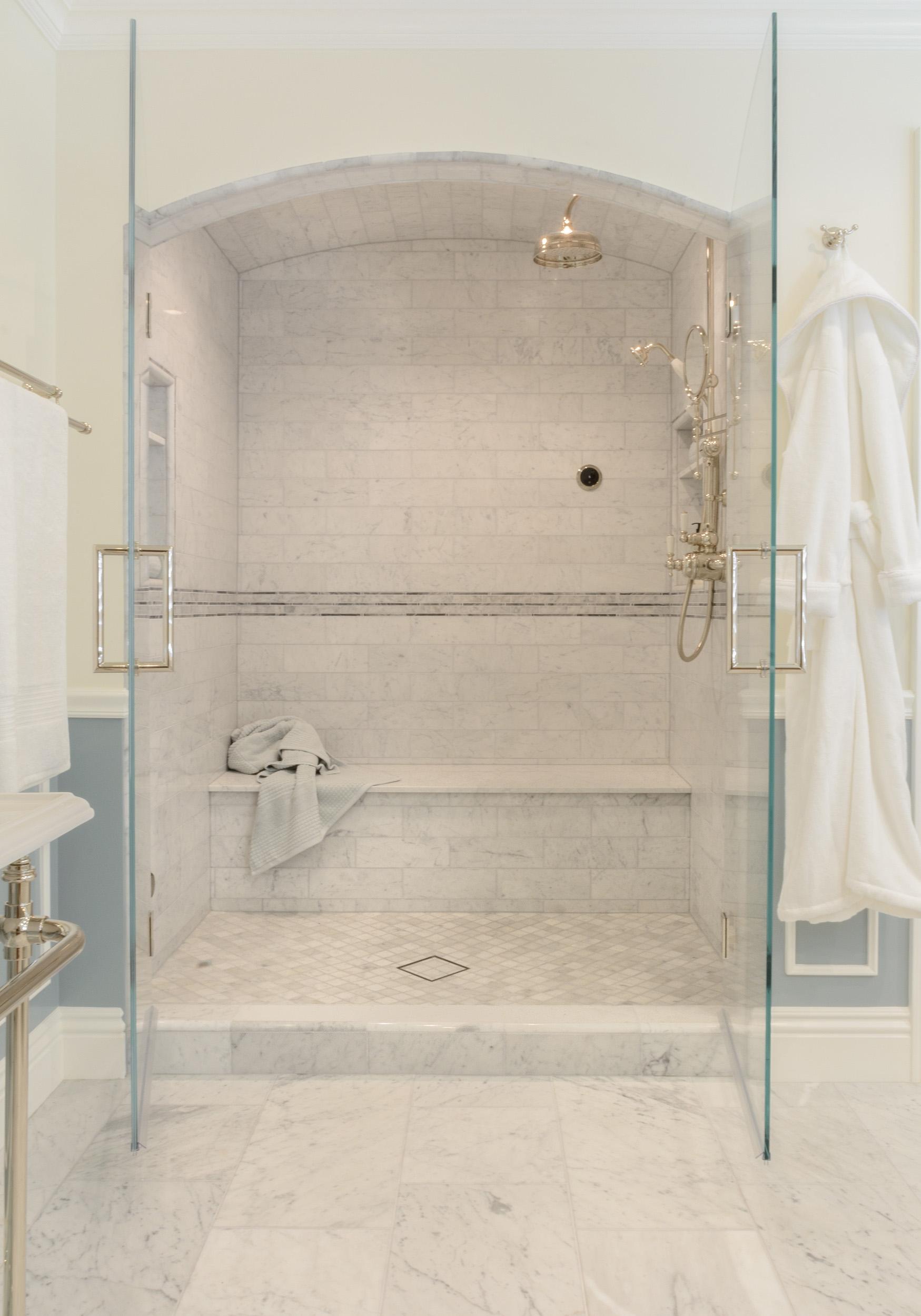 Beautiful marble shower design