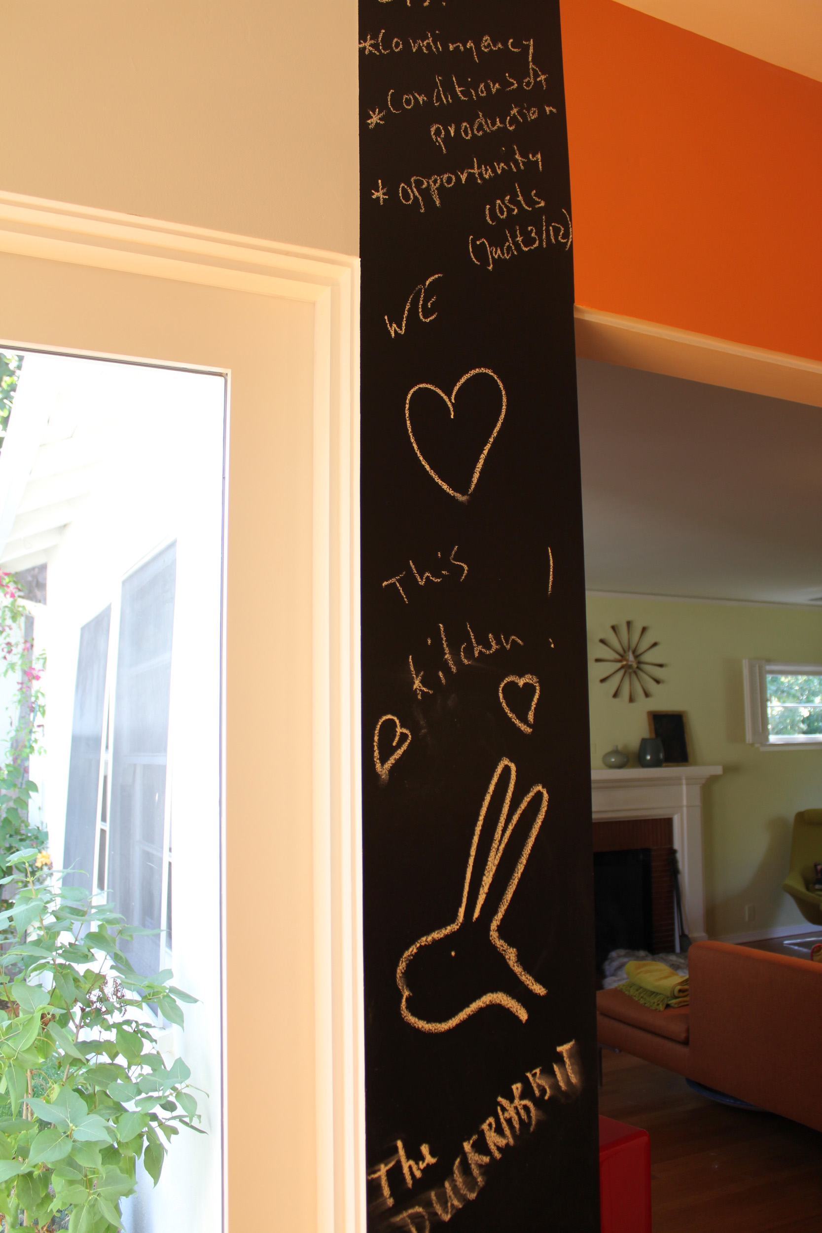 Kitchen chalkboard column: practical and lots of fun