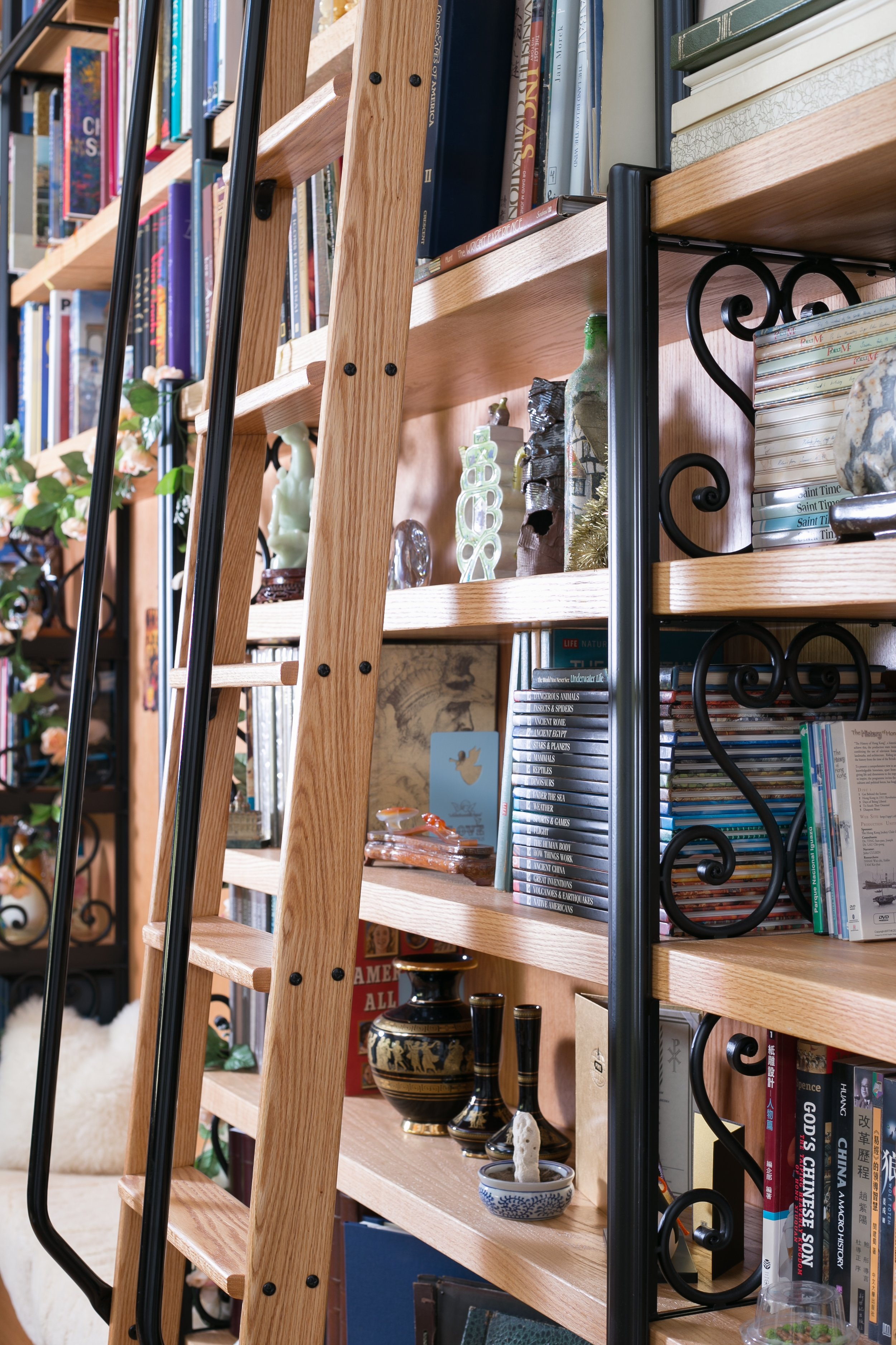 Oak library bookshelves and ladder with wrought iron detail