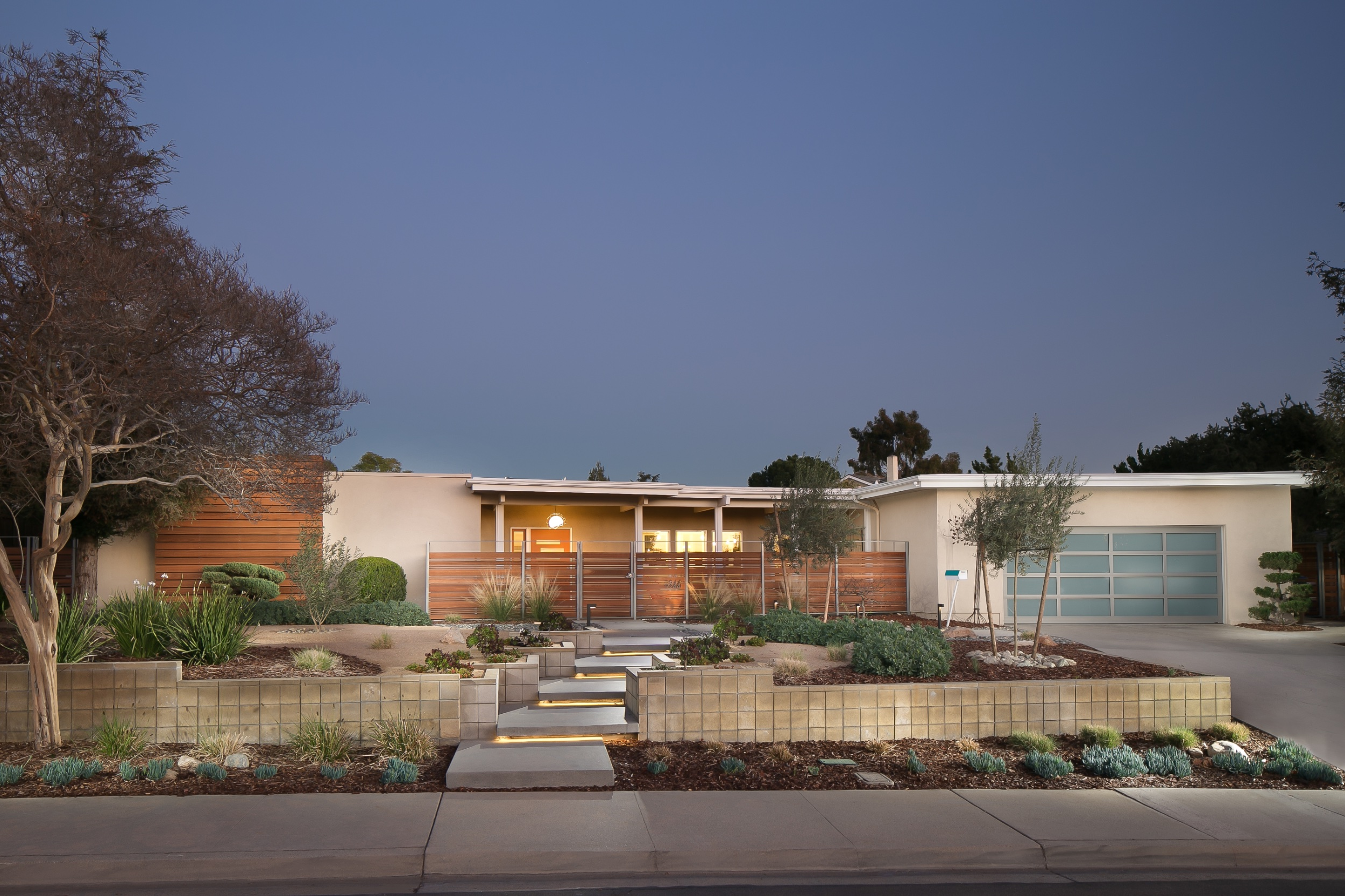 Mid-century modern home remodel with xeriscape landscaping