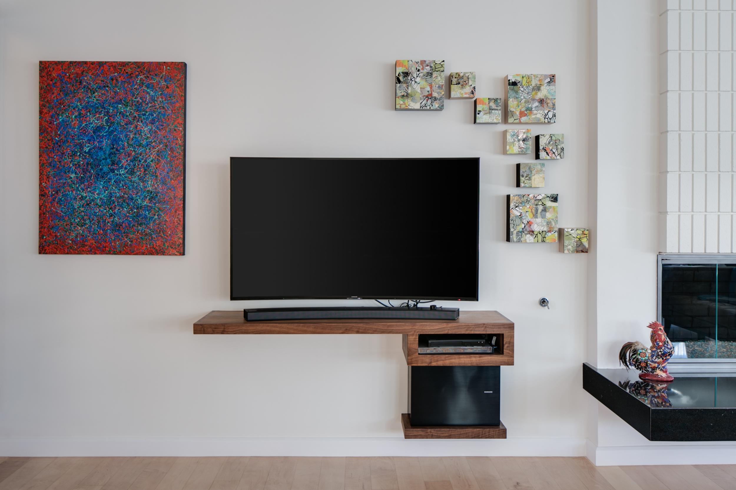 Mid-century modern walnut floating TV console