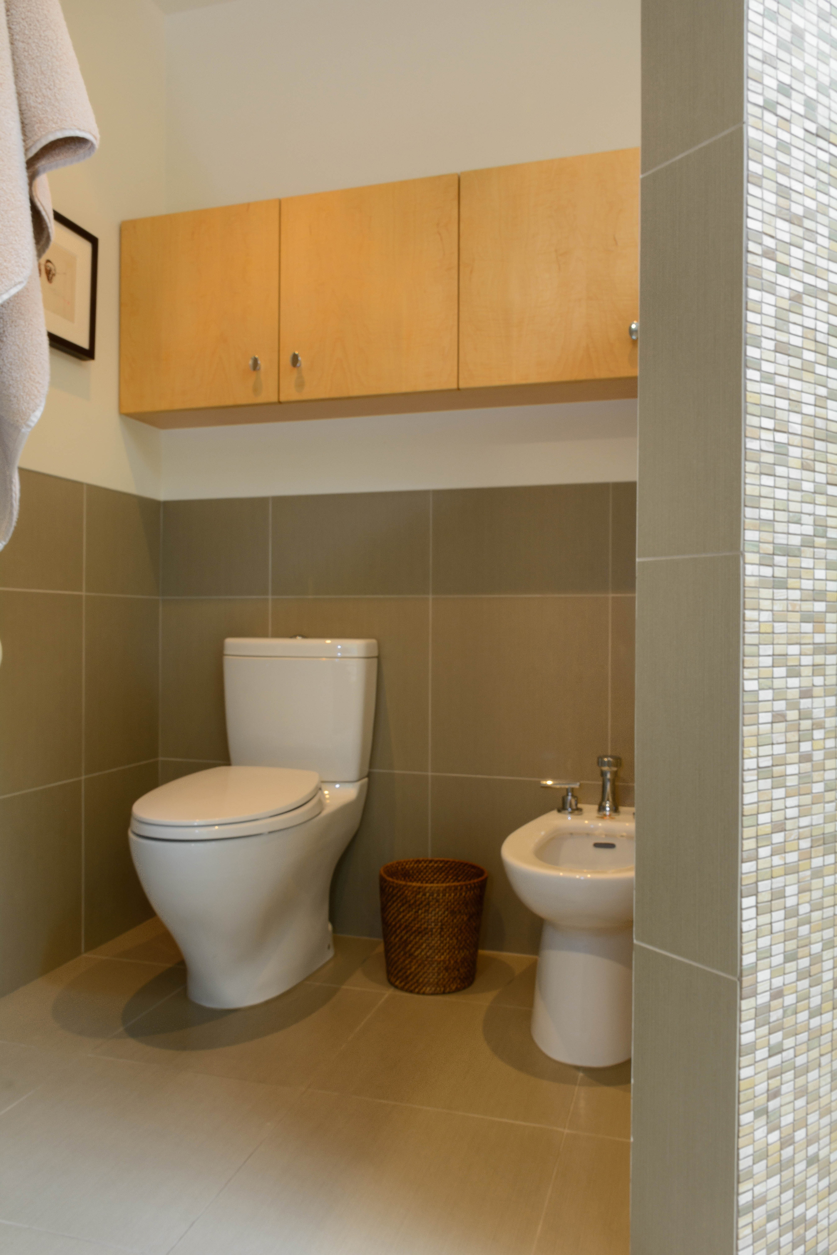 Toilet and bidet hidden by a curved mosaic tile privacy wall