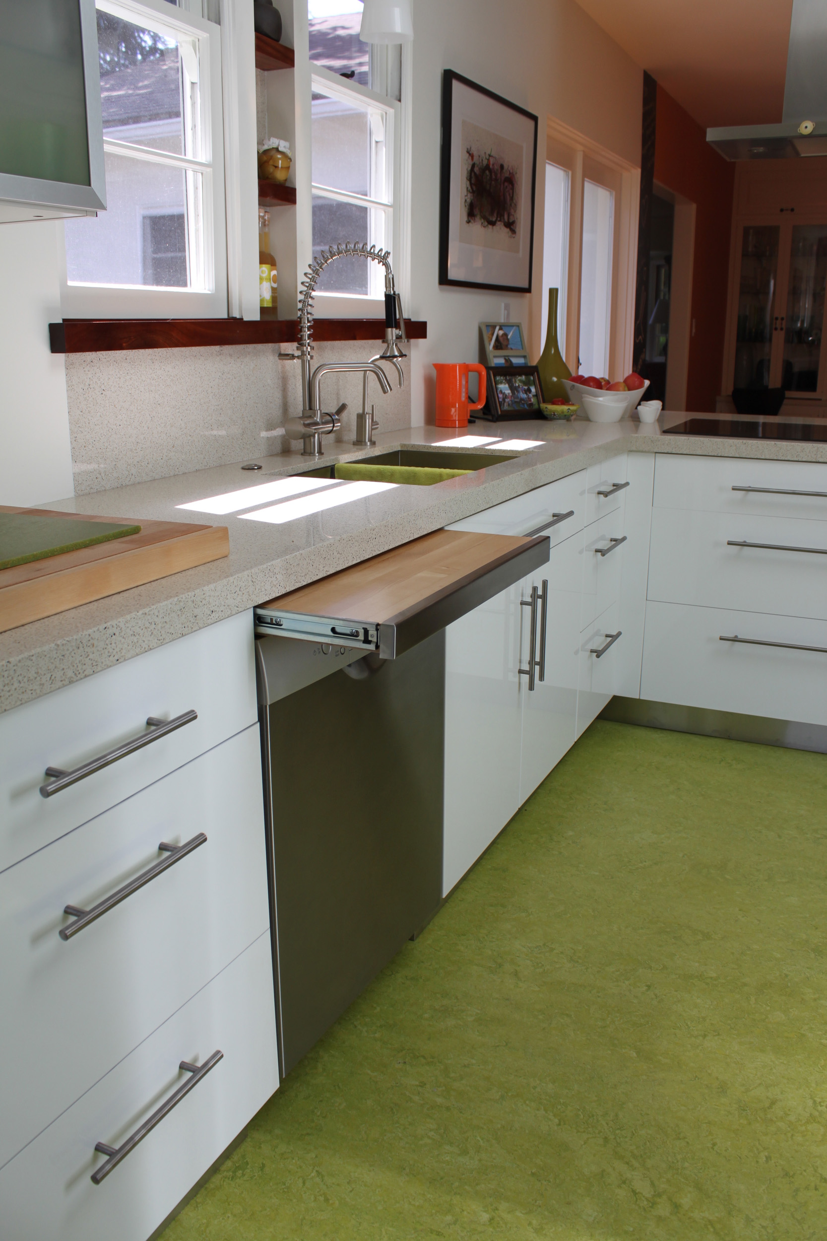 Concealed cutting board when closed appears to be part of the Dishwasher in this New Kitchen