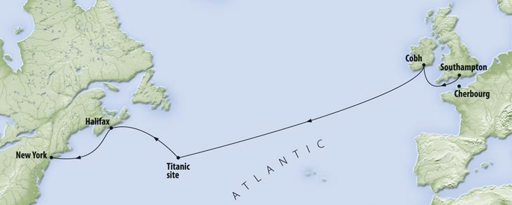 This map outlines the route Titanic intended to take between Southampton and New York.