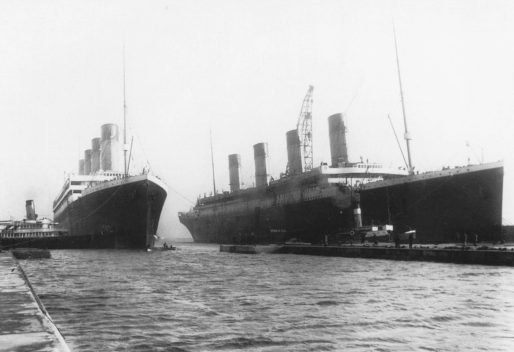 This is a very rare shot of Olympic and Titanic together