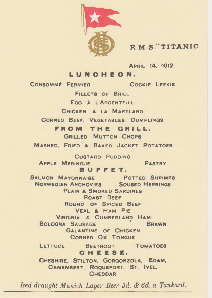 Passengers enjoyed the calm seas and experienced one of the finest menus available as Titanic steamed to New York.
