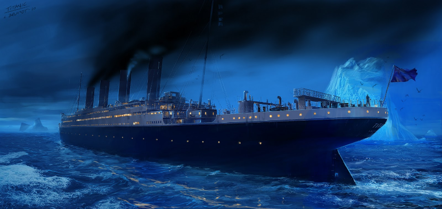 Blissfully unaware of her surroundings and under full steam, Titanic enters a field of icebergs.