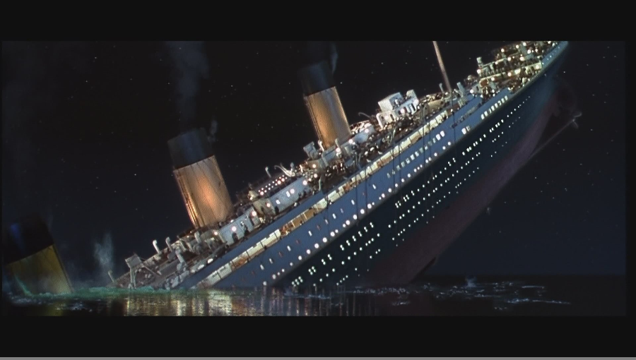 The sheer volume of water in Titanic's bow would drag her propellers upwards. Passengers either scampered to higher ground or took a leap of faith into the water which was around one degree above freezing as positions of lifeboats became increasingly scarce.