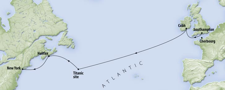The course Titanic was intending to take
