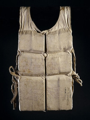 An authentic life vest from 1912. The life vest provided warmth to survivors on board life boats.