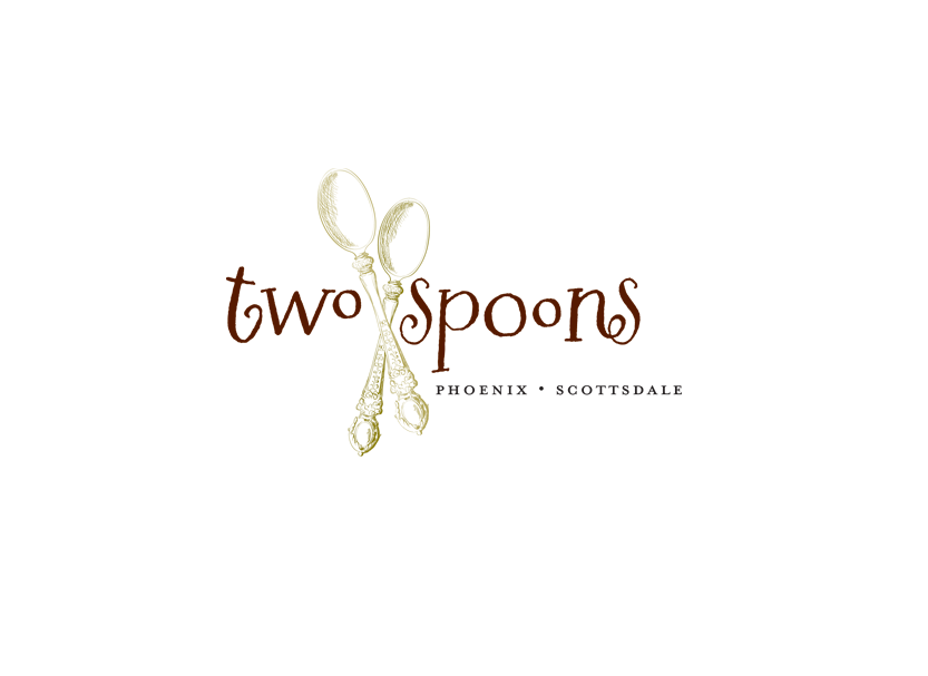 Logo design for Two Spoons, a small batch made to order bakery in Phoenix, Arizona.