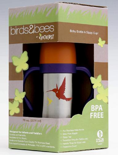 Birds & Bees Collection, 7 oz sippy cup. Birds design.