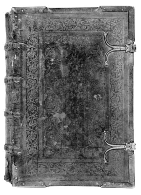 Cover of the Summa Sacre Magice once owned by John Dee, then passed on into the alchemical library of Landgraf Moritz von Hessen (*1572 †1632)