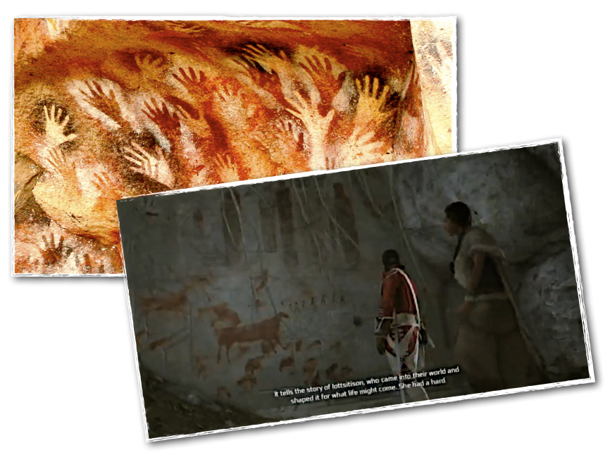 Click to enlarge. -- Between these two images - one taken from an actual cave, the other from a recent computer game - lie up to 50000 years of human creativity.