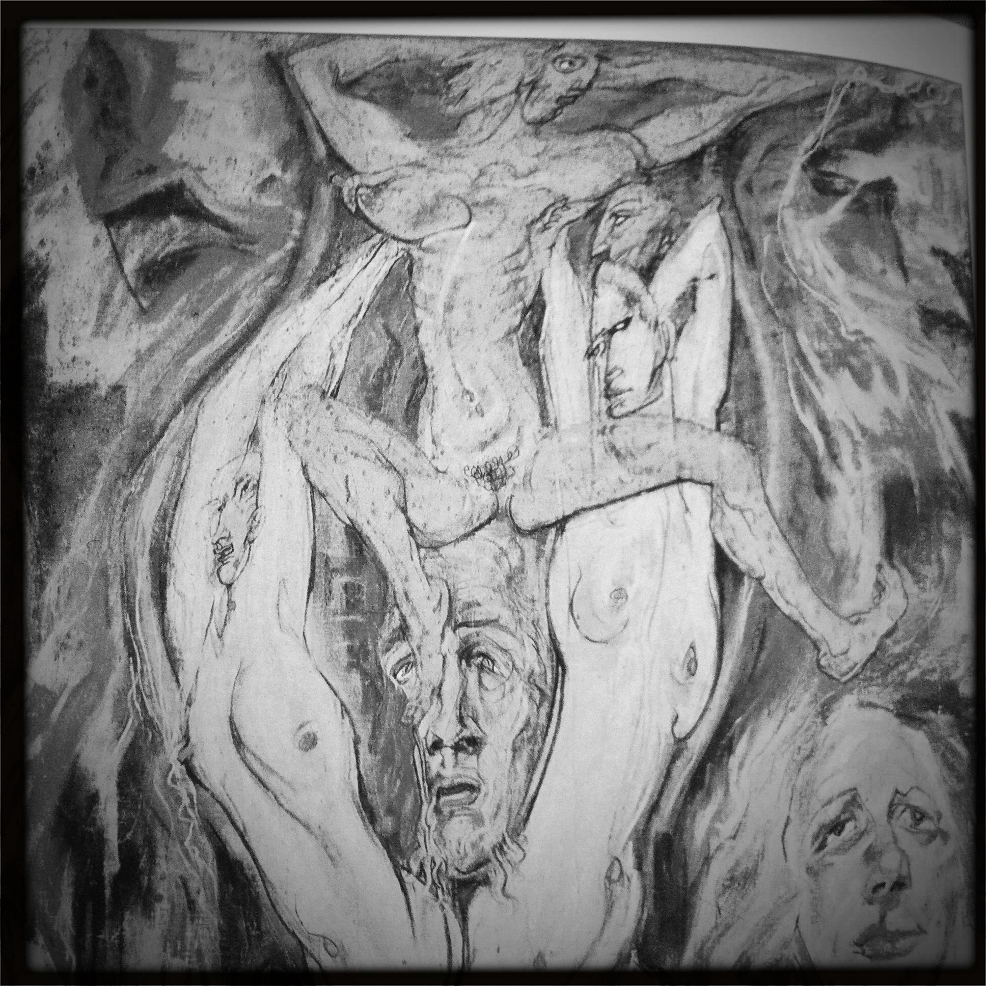"""An example of 'unformed magic' - excerpt of A.O. Spare's painting """"Flame, Fugue, Flesh"""" (1954)"""