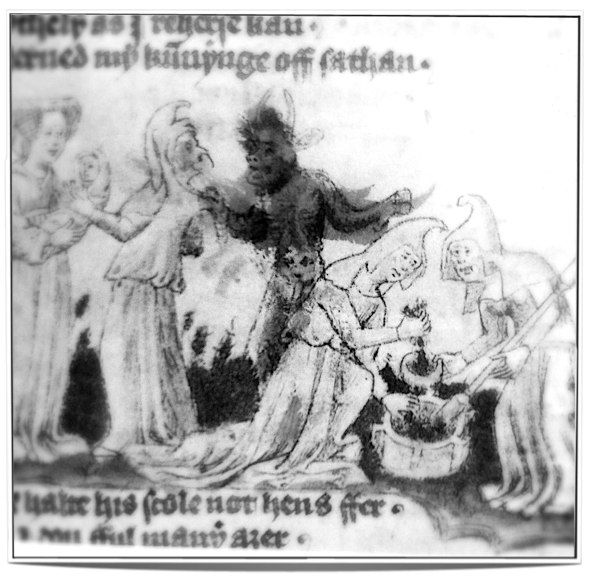 Witches preparing a herbal medicine with the help of a demon (14th century) - an example of creating 'food' that is charged by both spirits and humans.