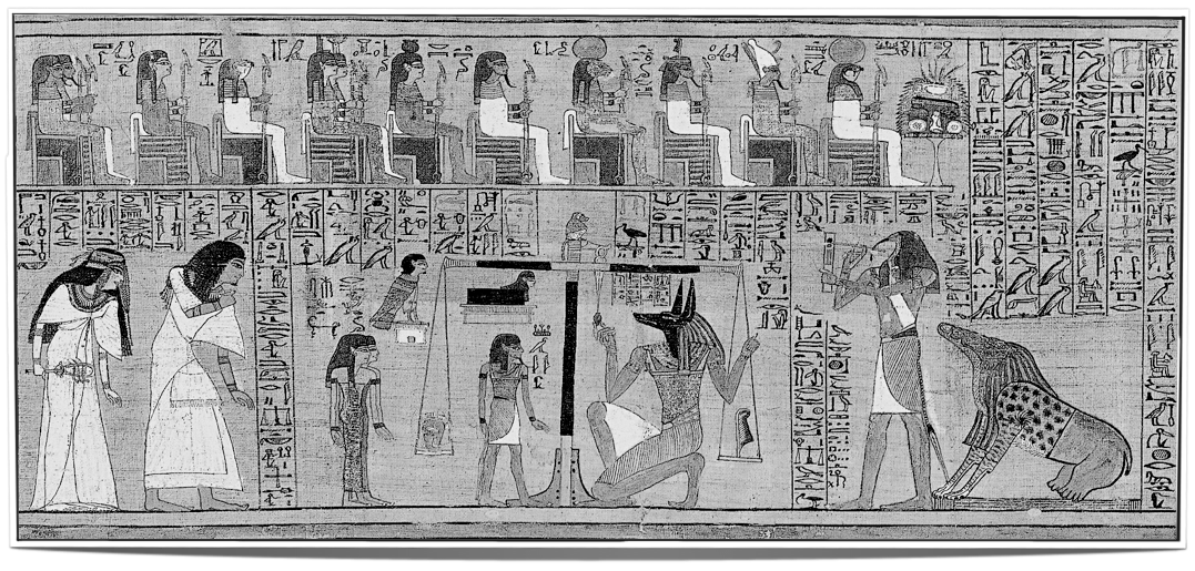 The scales of Maat in the Hall of Justice: weighting the life of a human in form of their heart on the left scale, balanced by her feather symbolising the eternal laws of truth, fate and order.